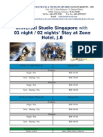 02 Days and 03 Days Singapore Package + Universal Studio + Zone Hotel JB