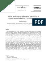 Modelación espacial de erosión de suelos en los Andes Colombianos