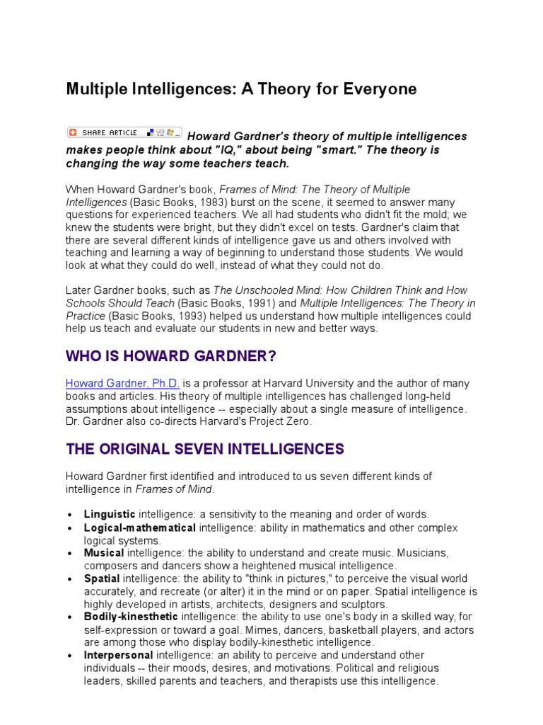 Multiple Intelligences 3 | Intelligence | Teachers