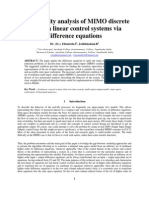 Irreducibility Analysis of MIMO Discrete Time Non Linear Control Systems via Difference Equations
