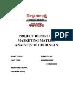 Project Report on Marketing Matrics Analysis of Hindustan