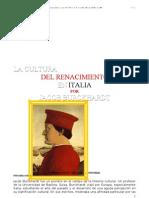 Burckhardt, Jacob - La Cultura Del Renacimiento en Italia