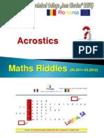 "eTwinning projet ""MATHS RIDDLES"", Acrostics RO"