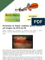 Secretaria de Saúde confirma quatro mortes por dengue em 2012 na PB