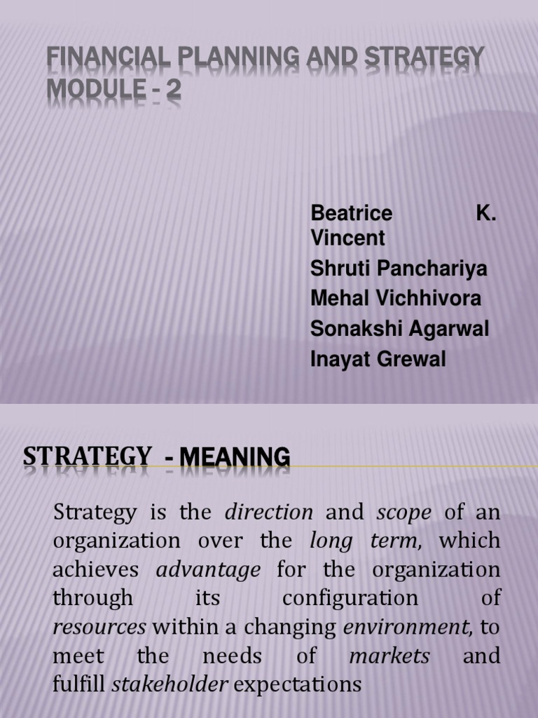 Financial Planning And Strategy Module - 2