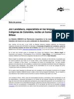Jon Landaburu, especialista en las lenguas indígenas de Colombia, recibe un homenaje en Bilbao