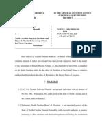 Sullivan v NC BoE - Class Action Lawsuit - Obama