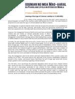 Sanggu1213-003 072112 Statement regarding Lowering the Age of Criminal Liability