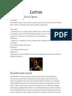 Fantasma de La Opera Letras
