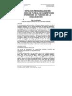 EL ESTILO DE PERSONALIDAD EN JUGADORES DE FÚTBOL DE COMPETICIÓN Y DIFERENCIAS EN FUNCIÓN DE LA DEMARCACIÓN