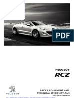 Peugeot Rcz Prices and Specifications Brochure
