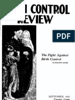 Margaret Sanger's Birth Control Review Sept 1924