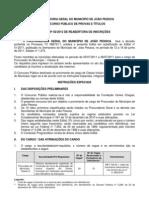 Edital de reabertura do concurso para procurador de João Pessoa