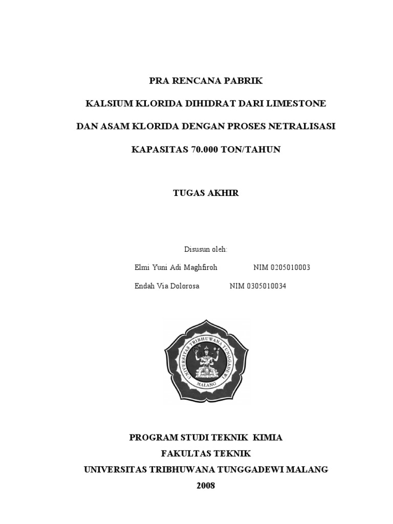 Ubercaren 0013 Tan6 Daftar Harga Terbaru Dan Terlengkap Indonesia 0014 Red Pra Rencana Pabrik Kalsium Klorida Dihidrat Dari Limestone Asam Dengan Proses Netralisasi Kapasitas 70000