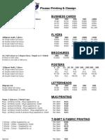 Ficaso Printing & Design - PRICE LIST 2009