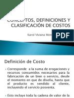 CONCEPTOS, DEFINICIONES Y CLASIFICACIÓN DE COSTOS