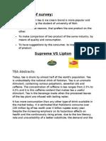 Marketing survey on Supreme Vs Lipton