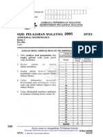 Add Maths Sebenar Spm 2005
