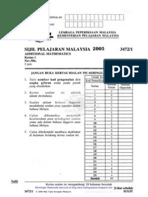 Add Maths Sebenar Spm 2005 Standardized Tests Student Assessment And Evaluation