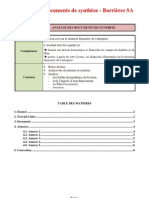 Analyse des documents de synthèse - Barrières SA
