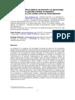 """BROCCOLI, Ana María, ARÍSTIDE, Pablo y COTRONEO, Santiago """"Necesidad de políticas públicas de transición a la agroecología para la agricultura familiar en Argentina"""