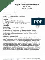 July 22, 2012 Grace Lutheran Church Westminster Maryland Sunday bulletin