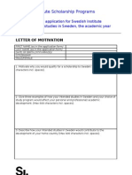 Motivation Letter for SI Study Scholarship (2012-2013)