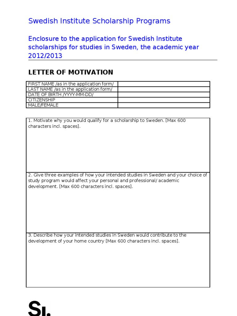 Motivation letter for si study scholarship 2012 2013 thecheapjerseys Images