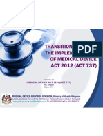 Transition Plan for Implementation of Medical Device Act 2012