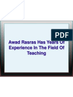 Awad Rasras Has Years Of Experience In The Field Of Teaching