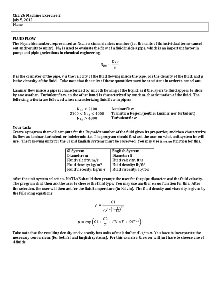 Machine Ex 3 Answer | Reynolds Number | Laminar Flow