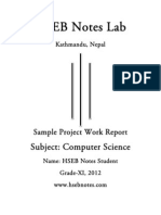 Computer Science Project Work, Grade 11 - HSEB NOTES
