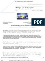 Pam Gulleson Press Release About Farm Bill Delays