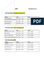 09 BA BBA + MBA Major Specialisation Timetable