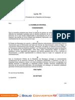 Ley No. 779 Ley Integral Contra La Violencia hacia las Mujeres en Nicaragua