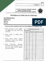 Percubaan Upsr Johor 2012 - Matematik Kertas 2