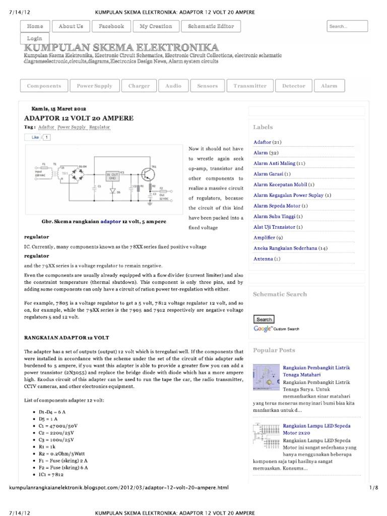 Kumpulan Skema Elektronika Adaptor 12 Volt 20 Ampere Usb Powered Battery Charger Circuit Gambar Rangkaian