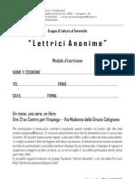 Modulo Iscrizione Lettrici Anonime