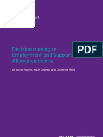 """​Decision making on Employment and Support Allowance claims""​ (Research Report No 788)"