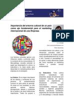 Importancia del entorno cultural de un país como eje fundamental para el marketing internacional de una Empresa
