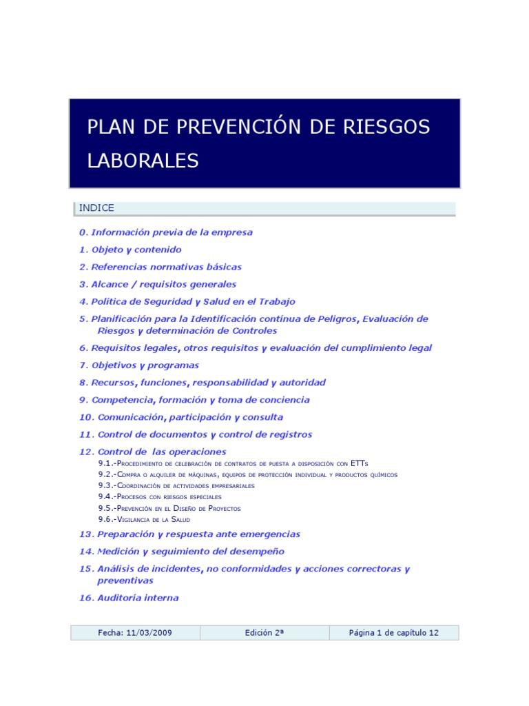 Borrador Plan de Prevencion de Riesgos Laborales