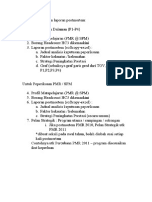 Penyelarasan Format Postmortem Pep