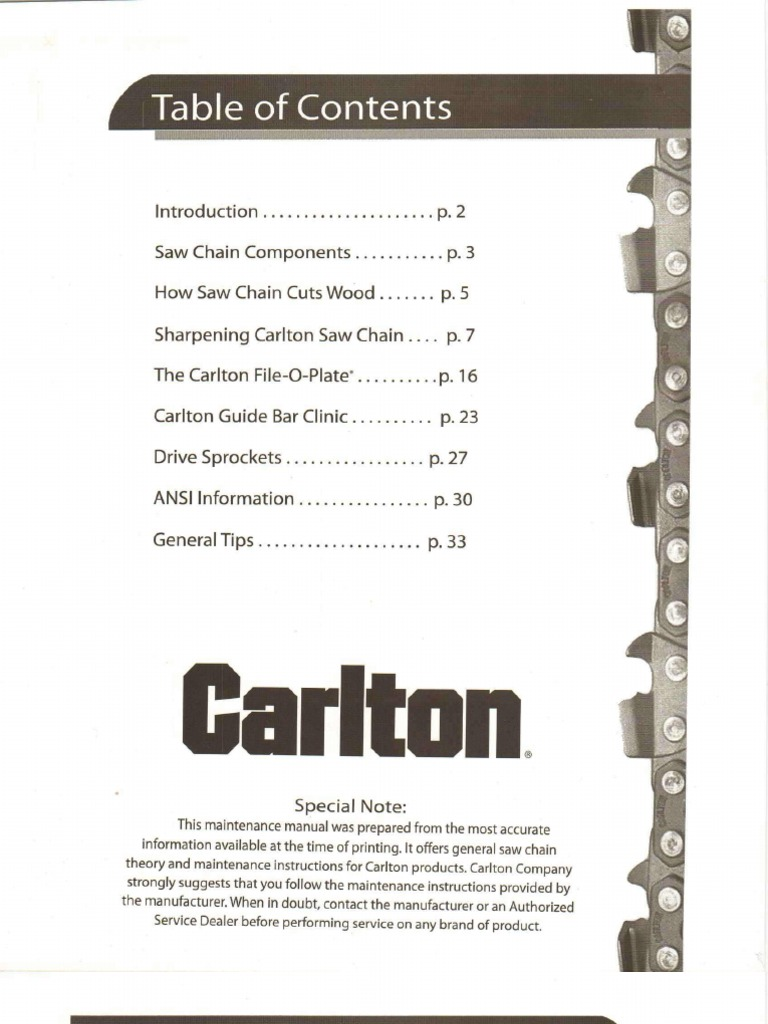 Chainsaw file size charts | the cutting professionals.