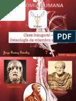 Clase inaugural y osteología de miembro superior.