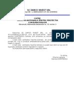 Adresa Darco Invest catre  ANPC
