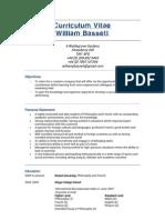 CV - William Bassett