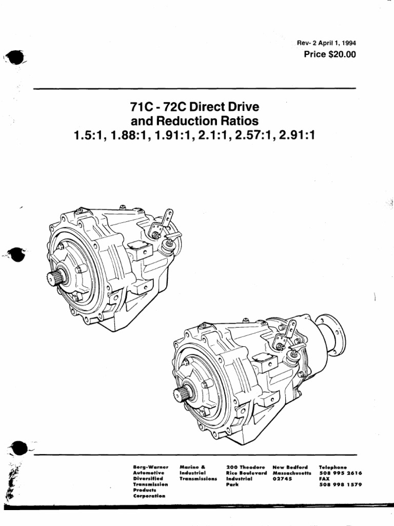 BW71C 72C Direct Drive Reduc Ratio