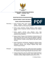 Perkonsil No. 1 Tahun 2010 TTG REGISTRASI DOKTER PROGRAM INTERNSIP