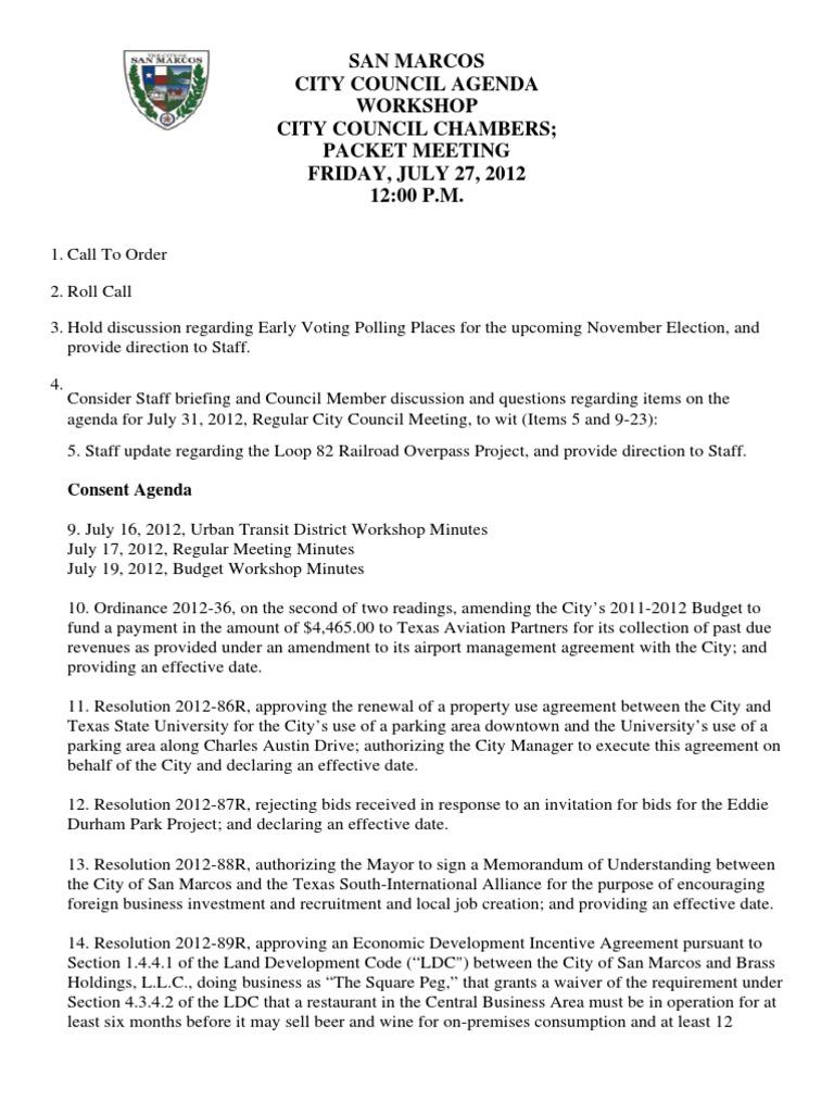 07 27 12 Agenda Workshop Texas Government