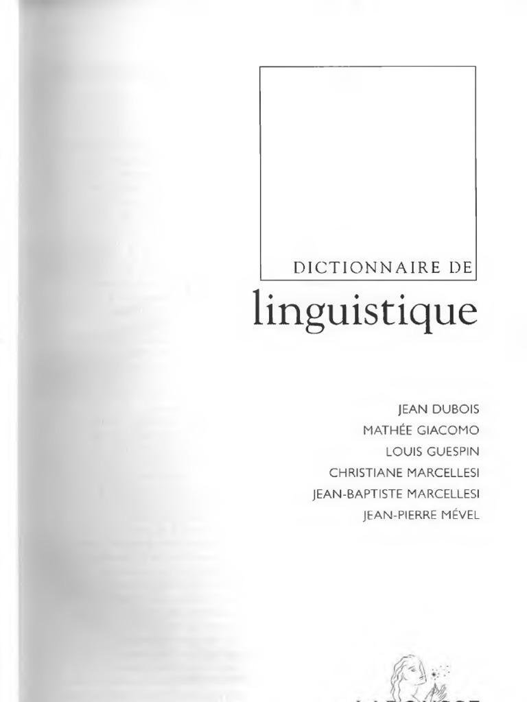 dictionnaire de linguistique et des sciences du langage
